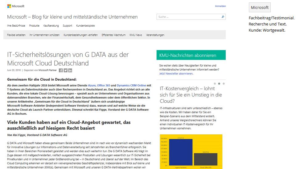 IT-Sicherheitslösungen von G DATA aus der Microsoft Cloud Deutschland